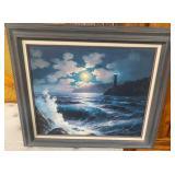 JUNE NELSON  FRAMED & SIGNED LIGHTHOUSE OCEAN ART