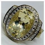 10KT YELLOW GOLD 5.20CTS CITRINE & .08CTS DIAMOND
