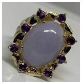 14KT YELLOW GOLD 11.33 CTS LAVENDER JADE & 1.00CT