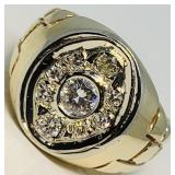 A HEAVY 14KT YELLOW GOLD 1.11 CTS DIAMOND RING