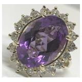 14KT YELLOW GOLD 5.75CTS AMETHYST & 1.00CTS DIA.