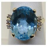 14KT YELLOW GOLD BLUE TOPAZ AND DIAMOND