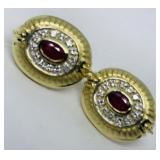 14KT YELLOW GOLD 1.20CTS RUBY AND .30CTS DIA.