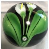 809 - HAND BLOWN CALLA LILY PAPER WEIGHT (SIGNED)
