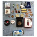 809 - MIXED LOT PINS, BUTTONS COLLECTIBLES