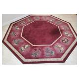809 - RED OCTAGONAL NYLON AREA RUG