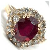 14KT ROSE GOLD 3.20CTS RUBY AND .65CTS DIA. RING
