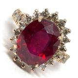 14KT ROSE GOLD 6.15CTS RUBY AND .85CTS DIA. RING