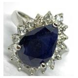 14KT WHITE GOLD 4.75CTS SAPPHIRE AND .75CTS DIA.