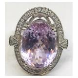 14KT WHITE GOLD 21.87CTS KUNZITE AND 1.20CTS DIA.