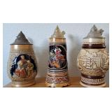 809 - LOT OF 3 BEER STEINS - SEE PICS