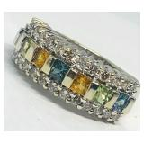 14KT WHITE GOLD 1.20CTS MULTI COLOR SAPPHIRE &