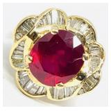 14KT YELLOW GOLD 5.48CTS RUBY & 1.10CTS DIAMOND
