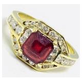 14KT YELLOW GOLD 1.77CTS RUBY & .75CTS DIAMOND
