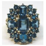 14KT YELLOW GOLD LARGE BLUE TOPAZ RING
