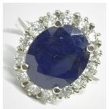 14KT WHITE GOLD 6.00CTS SAPPHIRE AND 1.00CTS DIA.
