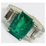 14KT WHITE GOLD 3.15CTS EMERALD& 1.00 CTS DIAMOND