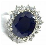 14KT WHITE GOLD 6.35CTS SAPPHIRE AND 1.80CTS DIA.