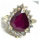 14KT YELLOW GOLD 5.88CTS RUBY & 1.00CTS DIA.