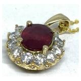 14KT YELLOW GOLD 2.78CTS RUBY &1.15CTS DIAMOND