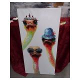 389 - WHIMSICAL HAND PAINTED OSTRICH CANVAS ART