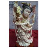 "ANTIQUE HAND PAINTED ASIAN IVORY STATUE 6"" TALL"