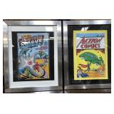 N - FRAMED JUSTIC LEAGE & ACTION COMICS W/COA