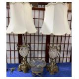 11 - PAIR OF ANTIQUE TABLE LAMPS & CANDY DISH