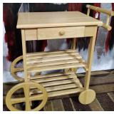 11 - ROLLING WOOD SERVING CART
