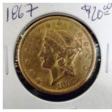 G - 1867 - 1.0 oz $20.00 GOLD COIN - GREAT COND.