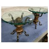 74 - BEAUTIFUL GLASS TOP END TABLES