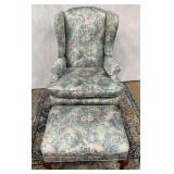 11 - LOVELY PASTEL ARM CHAIR W/MATCHING OTTOMAN