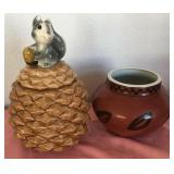 807 - PINE CONE COVERED JAR; CLAY POT