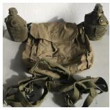 807 - LOT OF CAMPING BACKPACK, CANTEENS, BELTS