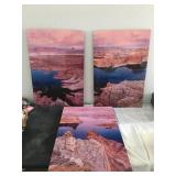 807 - TRIPTYCH OF CANYON & LAKE SIGNED