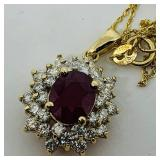 14KT YELLOW GOLD 2.88CTS RUBY &1.46CTS DIA.