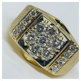 14KT YELLOW GOLD 1.20CTS MENS  DIAMOND RING