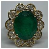 14KT YELLOW GOLD 6.32CTS EMERALD &.63CTS DIA.