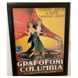 78 - FRAMED GRAFOFONI COLUMBIA  ART POSTER