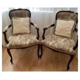 78 - PAIR OF BROCADE ACCENT ARMCHAIRS W/PILLOWS