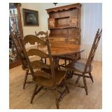 78 - ROUND OAK TABLE, 5 CHAIRS, CHINA HUTCH