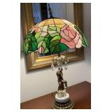78 - TIFFANY STYLE ROSE PATTERN TABLE LAMP
