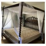 78 - ORNATELY CARVED CANOPY BED W/MATTRESS