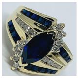 14KT YELLOW GOLD 1.55CTS SAPPHIRE & .20CTS DIA.