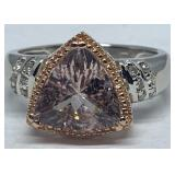 14KT WHITE GOLD 2.50CTS MORGANITE & .12CTS DIA.