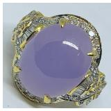 18KT YELLOW GOLD 6.50CTS LAVENDER JADE & .50CTS