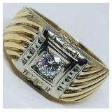 14KT YELLOW GOLD .48CTS MENS DIAMOND RING
