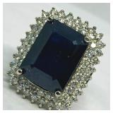 14KT WHITE GOLD 29.81CTS SAPPHIRE & 2.30CTS DIA.