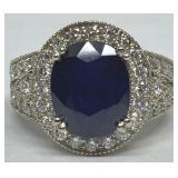 14KT WHITE GOLD 5.00CTS SAPPHIRE& 1.15CTS DIA.