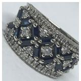 14KT WHITE GOLD 1.00CTS SAPPHIRE & .75CTS DIA.